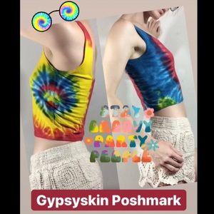 Rainbow Gypsy Hippie Crop Tank Top